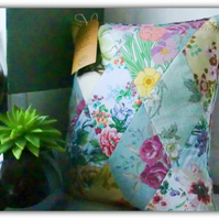 "Hand stitched complete cushion & pad Botanical ""French Farmhouse"""