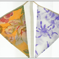 Hand stitched double sided garland,bunting vintage fabrics