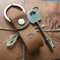 PPersonalized or plain Leather Keychain. Mini Wide Loop Split ring Keychain