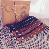 Personalized Leather Wristlet. Long Keychain. Monogrammed Wrist Strap.