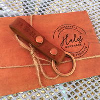 Personalized or plain Leather Keychain. Monogrammed Loop Split ring Keychain.