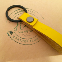 Personalized or plain Leather Keychain. Loop Split ring  black and yellow