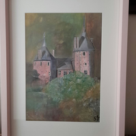 Beautiful Original signed painting of Castell Coch on Wales mounted but unframed