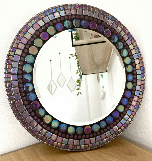 Handmade Unique 30cm Purple Mosaic Circle Round Mirror