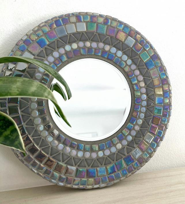 Handmade Unique 20cm Grey Mosaic Circle Mirror