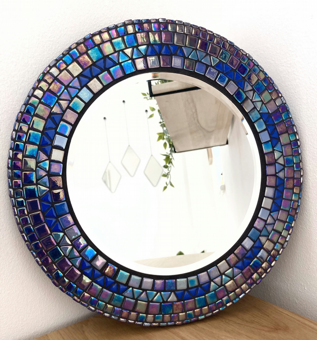 Handmade Unique 30cm Blue Mosaic Round Mirror