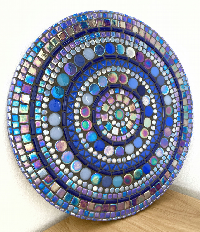 Handmade Unique 30cm Blue Mosaic Round Wall Art