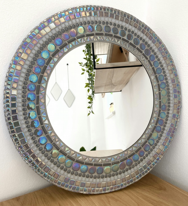 Handmade Unique 40cm Grey Mosaic Round Mirror