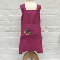 Embroidered Linen Apron for Kids