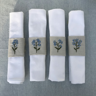 Napkin Rings Hand Embroidered Linen