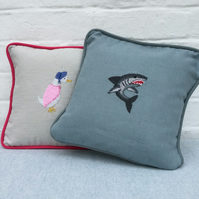 Hand Embroidered Linen Cushion