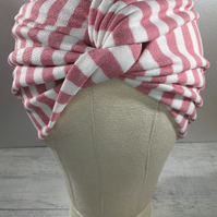 Twist Full Turban Headwrap White and Candy Pink Stripe