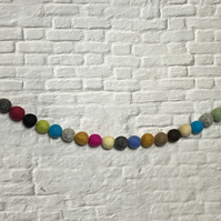 Pom Pom Felt Ball Bunting - Garland - Bright - Earth Tones
