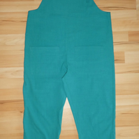 Linen Dungarees in Teal Green. Womens Dungarees Size Medium. Dungarees