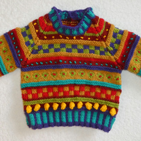 Stripes and Bobbles Baby Jumper Pattern. Knitting Pattern. PDF Knitting Pattern