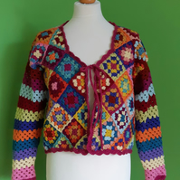 Crochet Cardigan in Granny Squares and Stripes. Crochet Pattern. PDF Pattern