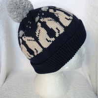 Moon Gazing Hare Hat Knitted in 4 ply Yarn  with Pompom. Bobble Hat