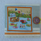 Sewing Needle Case with Picnic Scene and Bunting.