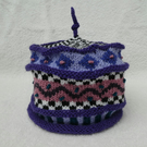 Multicoloured Hat. Handknit Hat. Winter hat. Purple Hat. Small.
