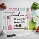 Personalised Glass Chopping Board - Cooking is love