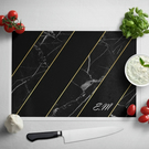 Personalised Glass Chopping Board - Black Marble