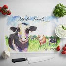 Personalised Glass Chopping Board - Cow Painting