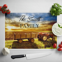 Personalised Glass Chopping Board - Massey Ferguson
