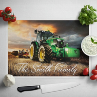 Personalised Glass Chopping Board - John Deere