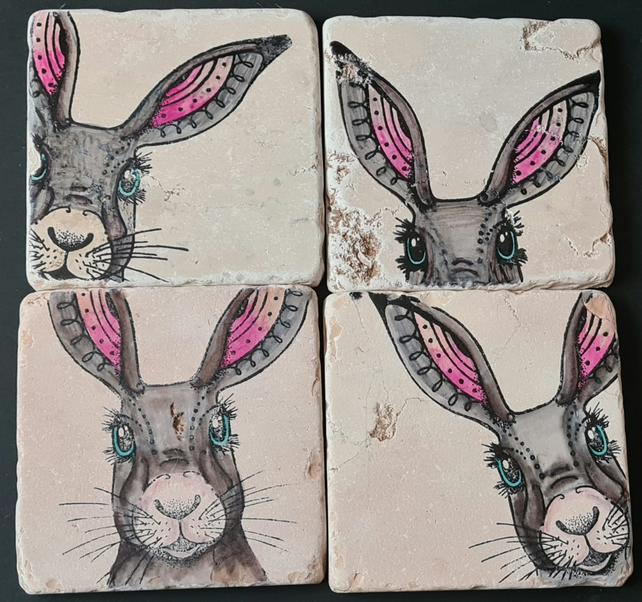 Hare Hand Painted Italian Marble Coasters (Set of 4)