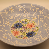 Blue and White Daisy Bowl with Chintz Flowers