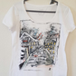 Individually designed Hand painted T-shirt casual Unique gift .White size 14