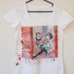 Individually designed Hand painted T-shirt casual Unique gift . White size 14