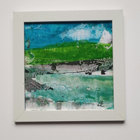 small picture abstract original painting paper on the board framed gift
