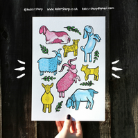 A collection of goats - A4 print