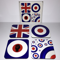 Mod Inspired Emblem 4 piece wooden coaster set with cork backing
