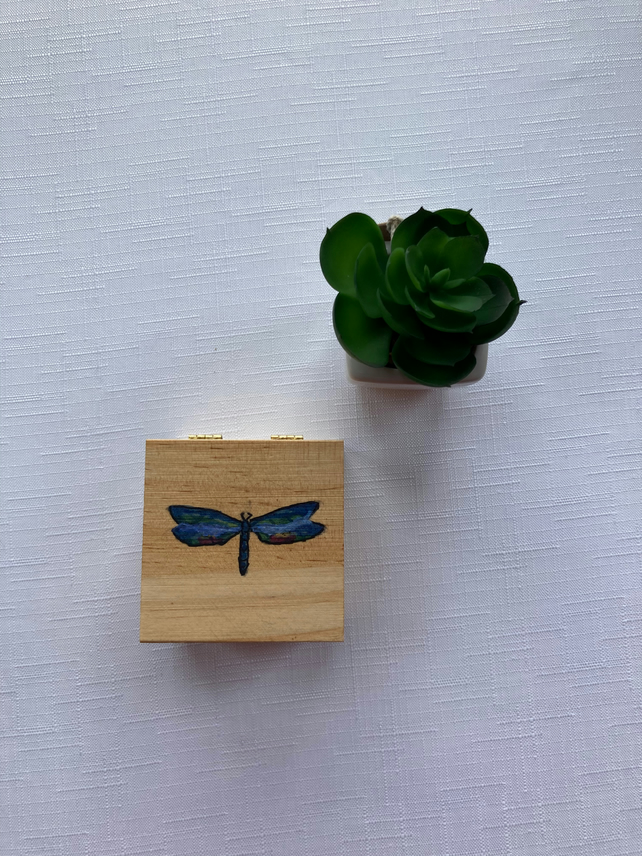 Hand Painted Small Blue Dragonfly Box