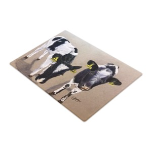 Dairy calves chopping board art print