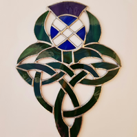 002 Stained Glass Celtic Saltire Thistle - handmade hanging decoration.