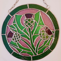004 Stained Glass Trio of Thistles - handmade hanging decoration.