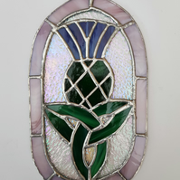 014 Stained Glass Oval Celtic Knot Thistle - handmade hanging decoration.