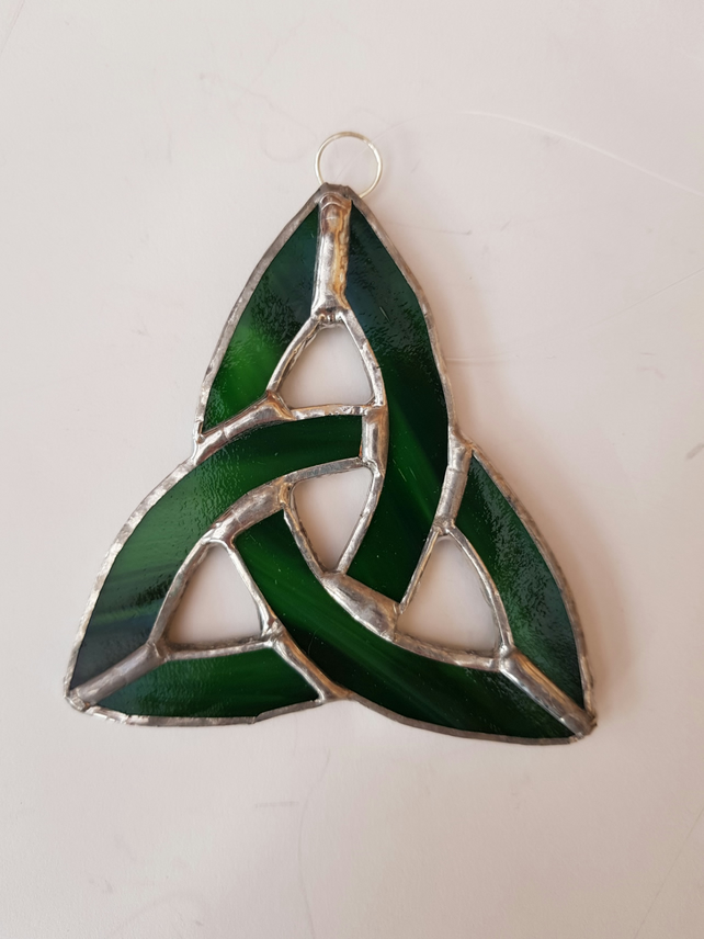 025 Stained Glass Small Celtic Knot Green - handmade hanging decoration.