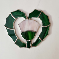 038 Stained Glass Heart Thistle - handmade hanging decoration.