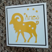 Aries the ram April birthday card