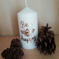 Bee Happy bee themed pilar candle
