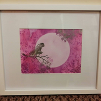 Hand painted, framed picture of Raven the fairy in the moonlight