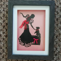 Hand made framed paper cut picture A Dog Is Not Just For Christmas