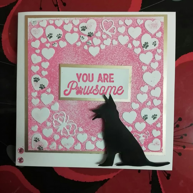 Blank Card from the dog - you are pawsome featuring a german shepherd silhouette