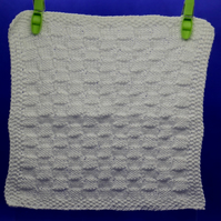 Hand Knitted Organic Cotton Cloth (White)