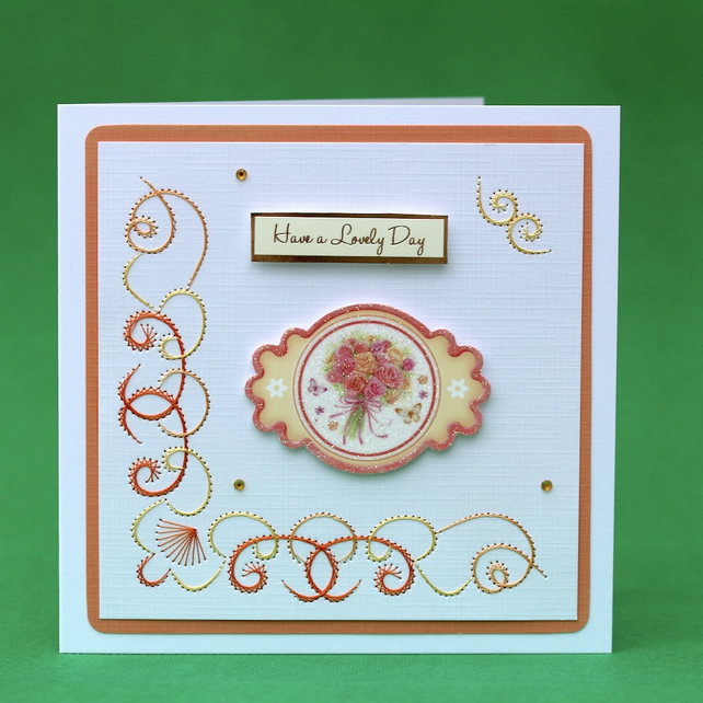 Lovely Day hand-stitched greeting card