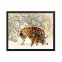 Tiger Family Paper Wall Art